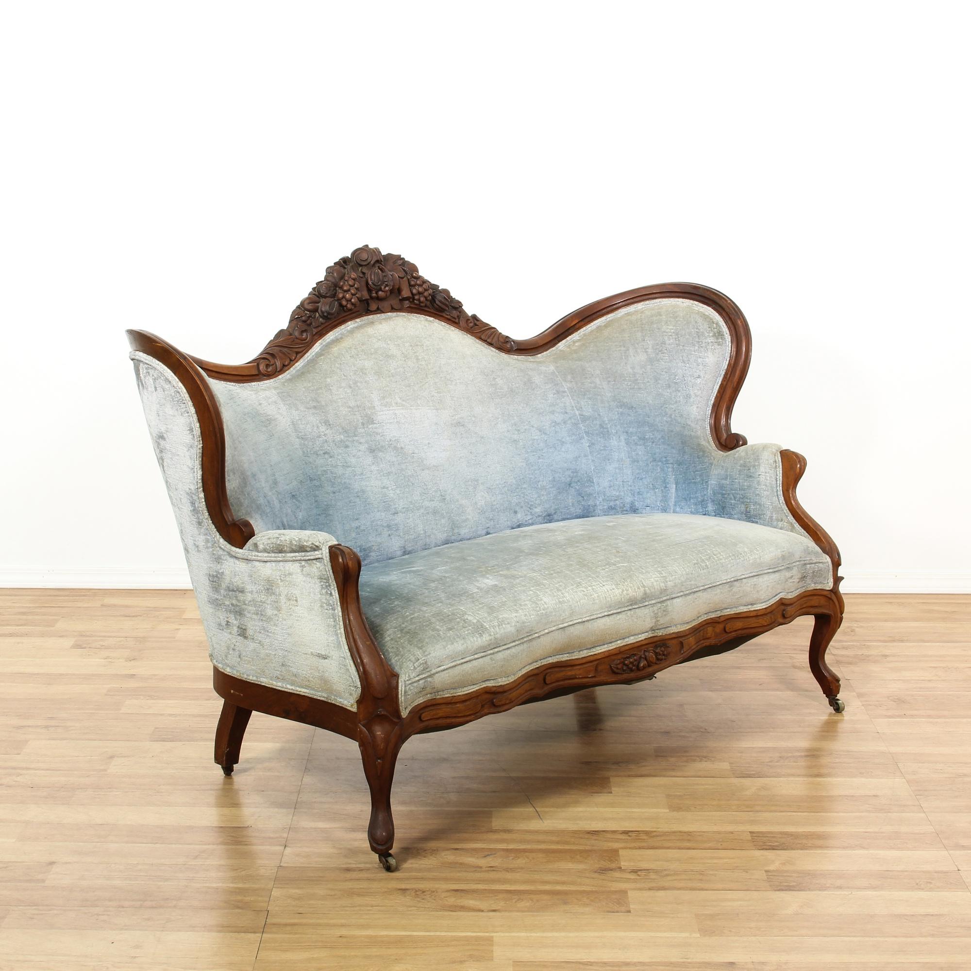 Belter Victorian Style Mahogany Blue Velvet Settee