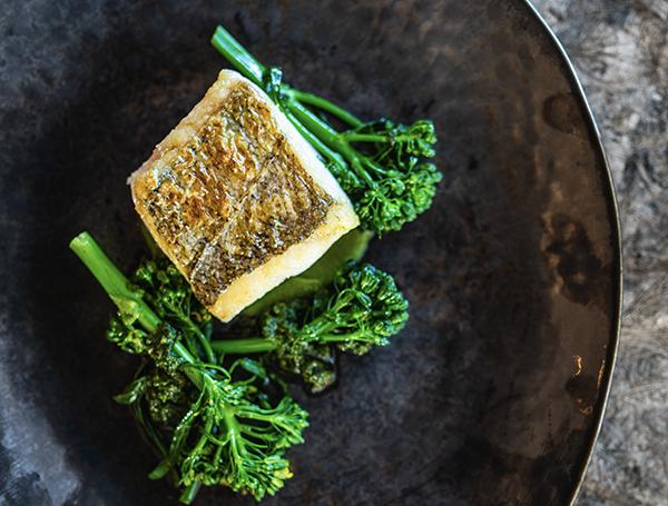 Cornish hake, broccoli root purée, Botanical sunflower salsa verde