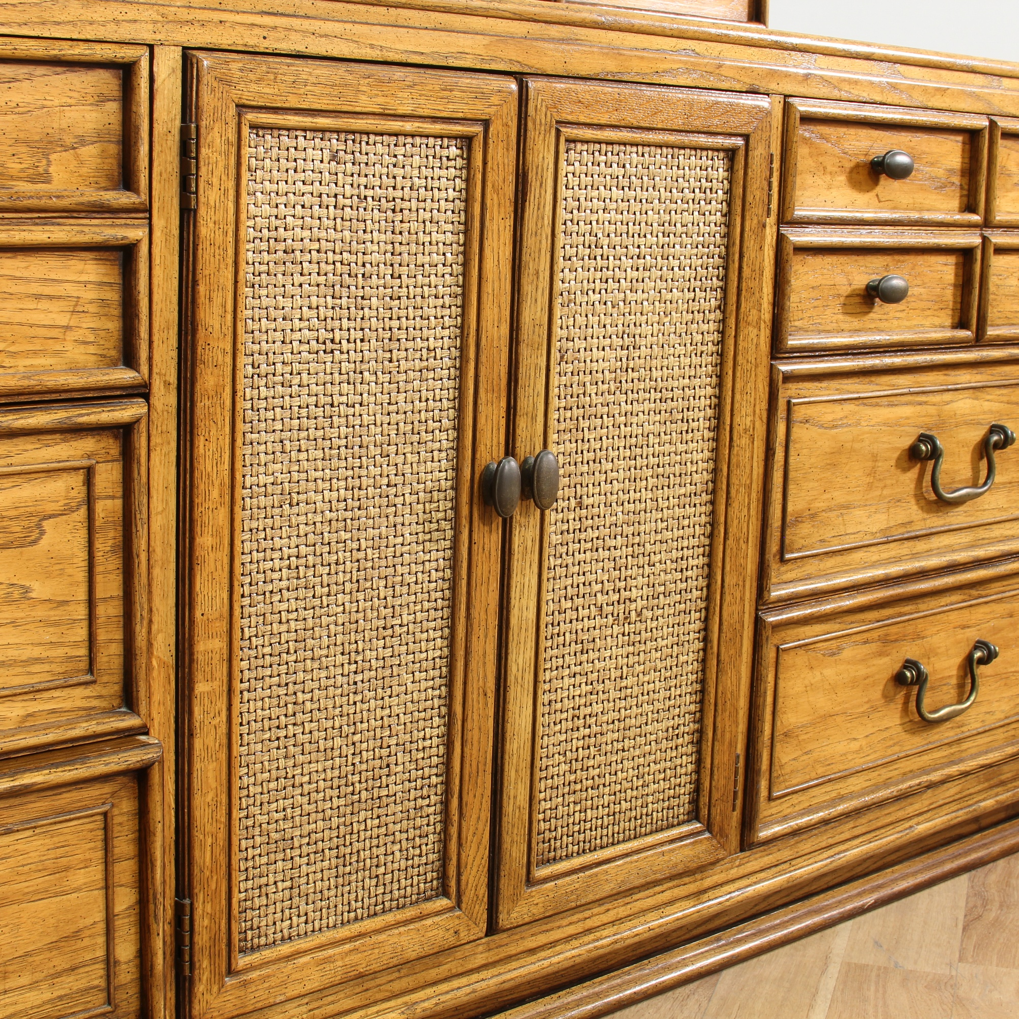 Long Coastal Woven Front Dresser Vanity & Mirror ...