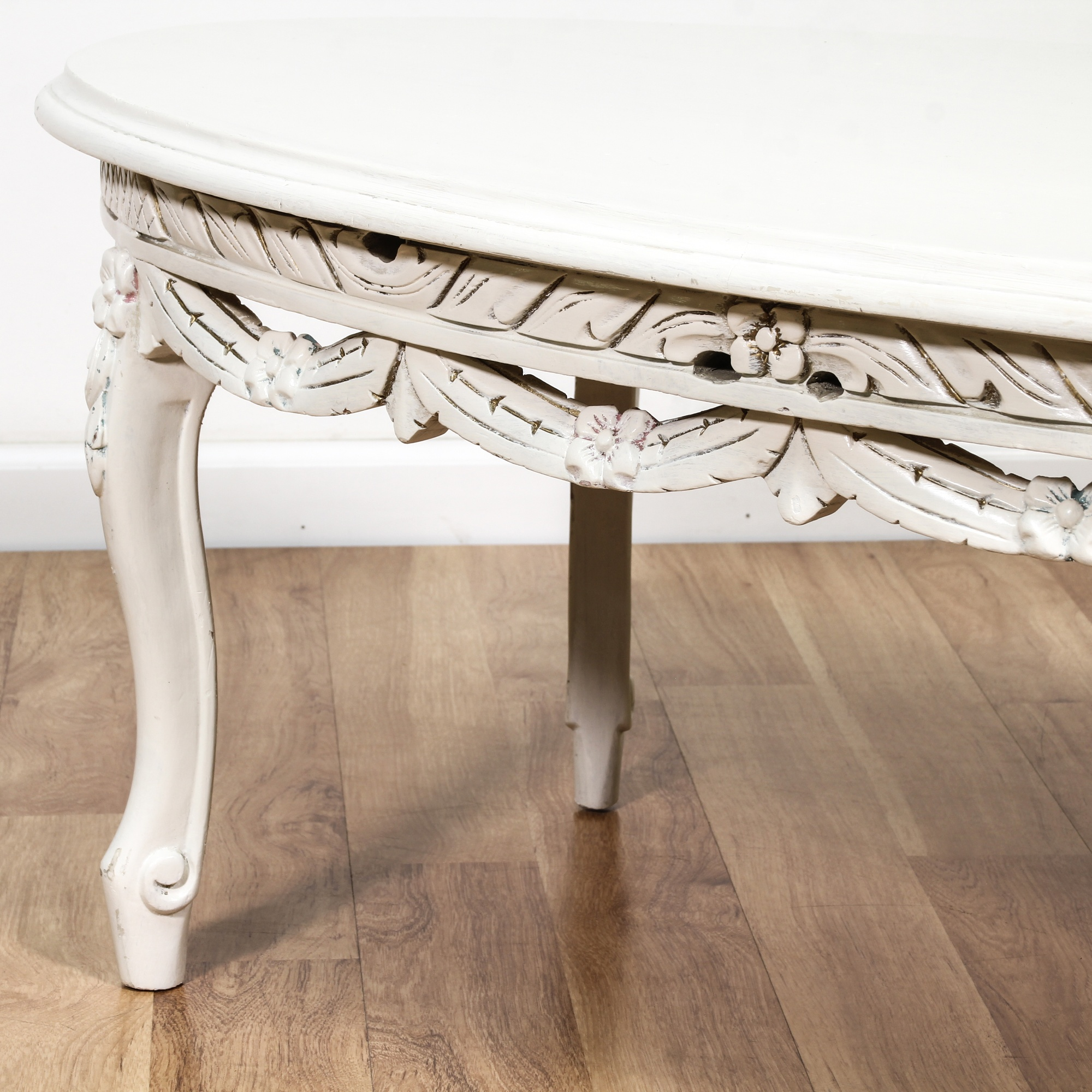 White Cottage Chic Oval Carved Coffee Table