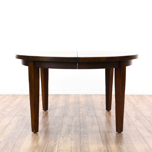 round solid wood dining table w 2 leaves loveseat vintage furniture san diego los angeles. Black Bedroom Furniture Sets. Home Design Ideas