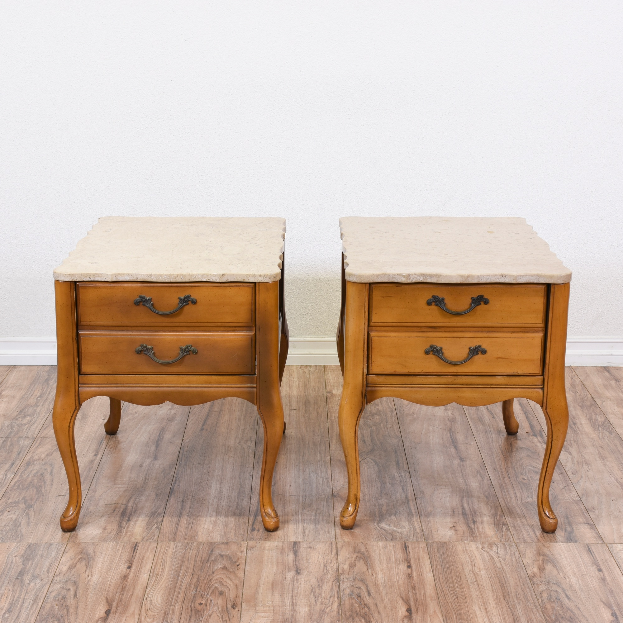 Pair Of Marble Top French Provincial End Tables