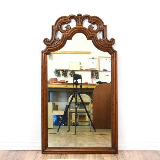 Traditional Carved Walnut Accent Mirror