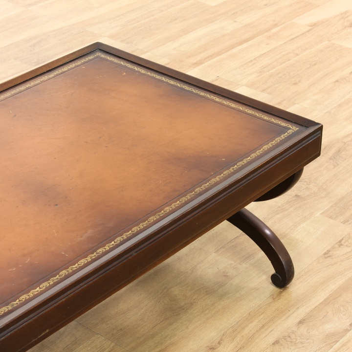 Leather Top Traditional Coffee Table Loveseat Vintage Furniture Los Angeles