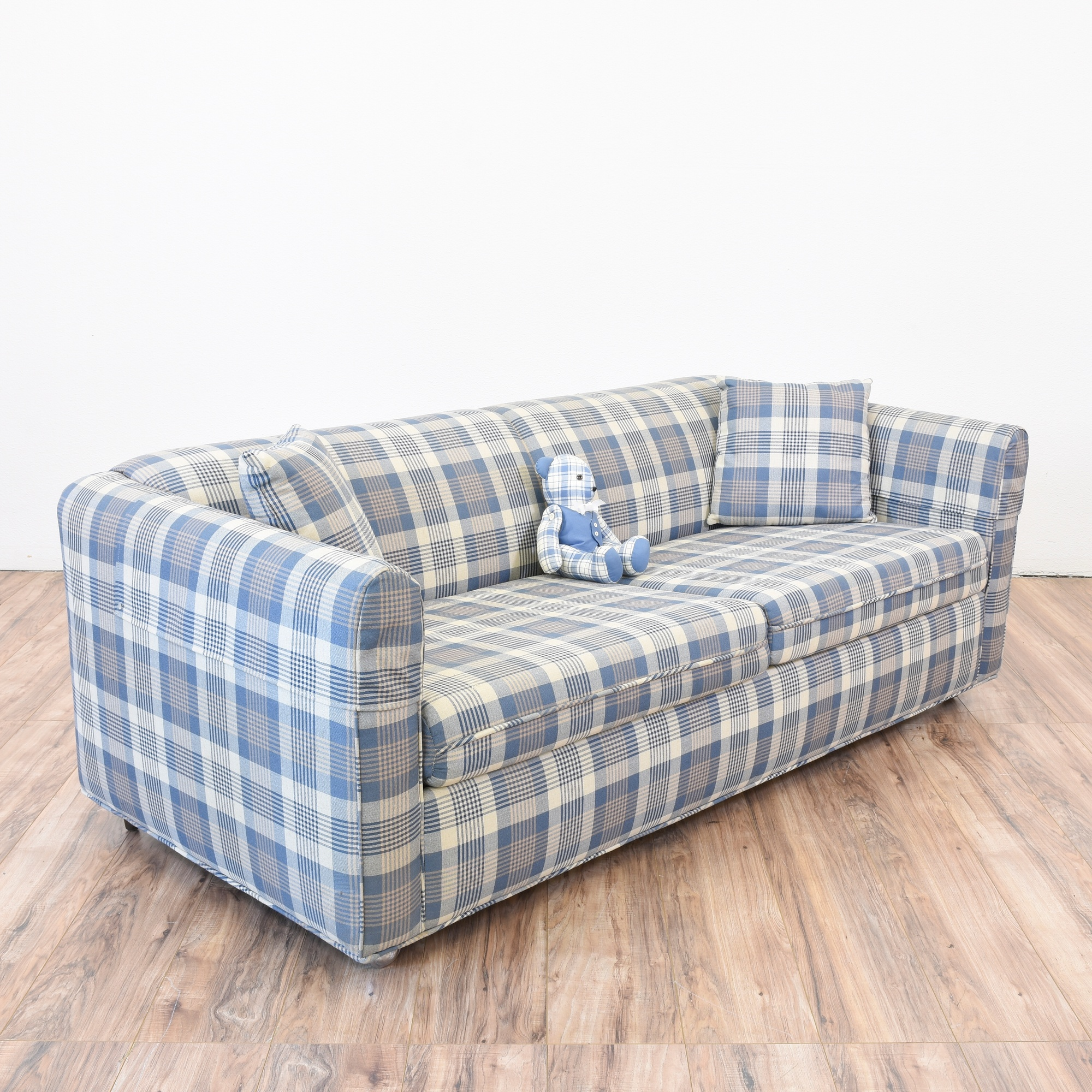 Plaid Teddy Bear Sleeper Sofa Loveseat Vintage Furniture San Diego Los Angeles