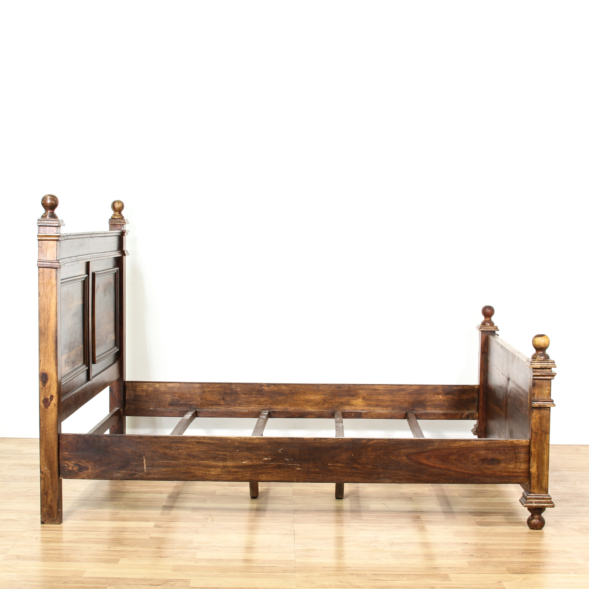 rustic stained wood king sized bed frame loveseat