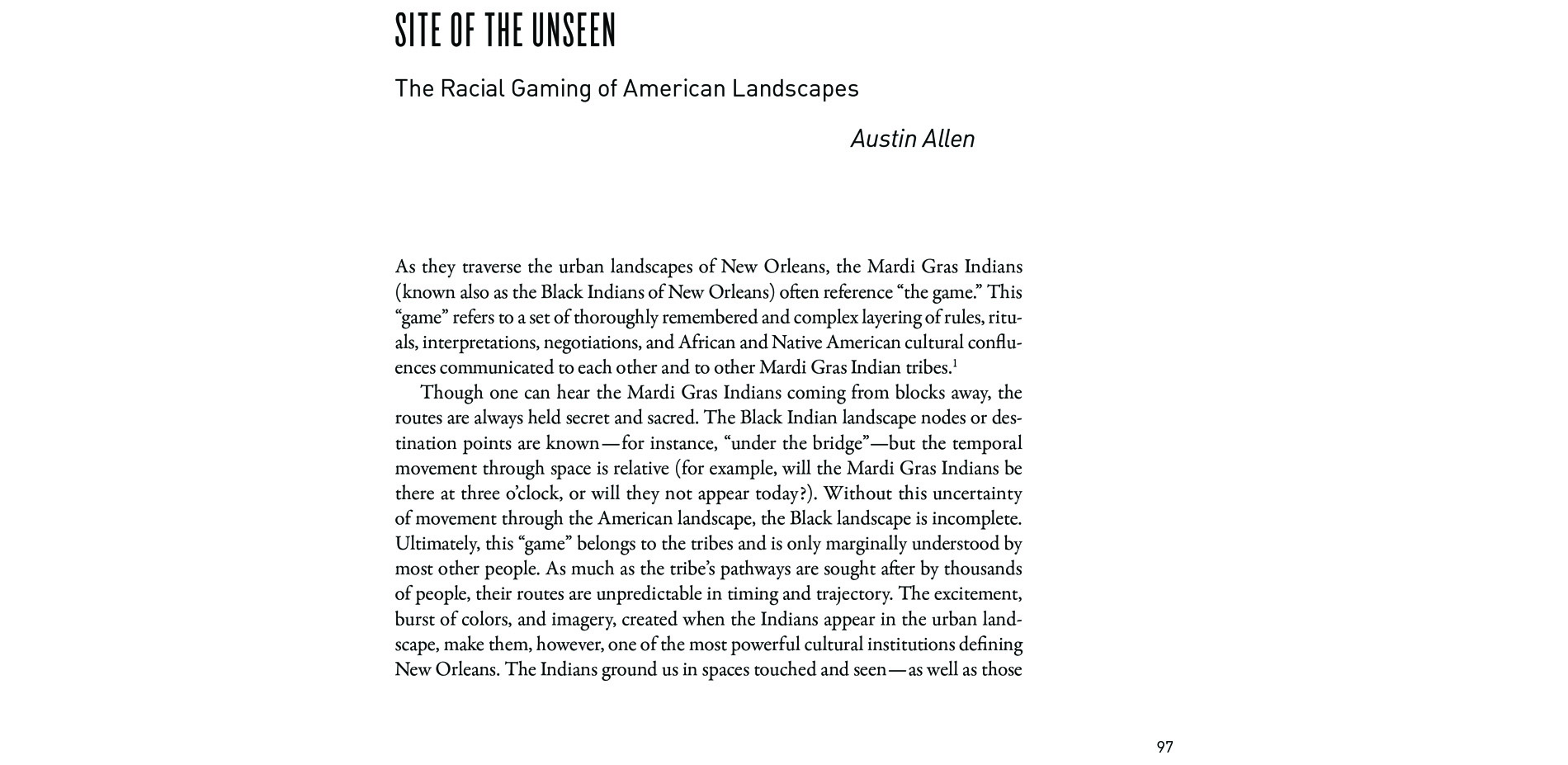 Black Landscapes Matter, Site of the Unseen: The Racial Gaming of American Landscapes (pg. 97)
