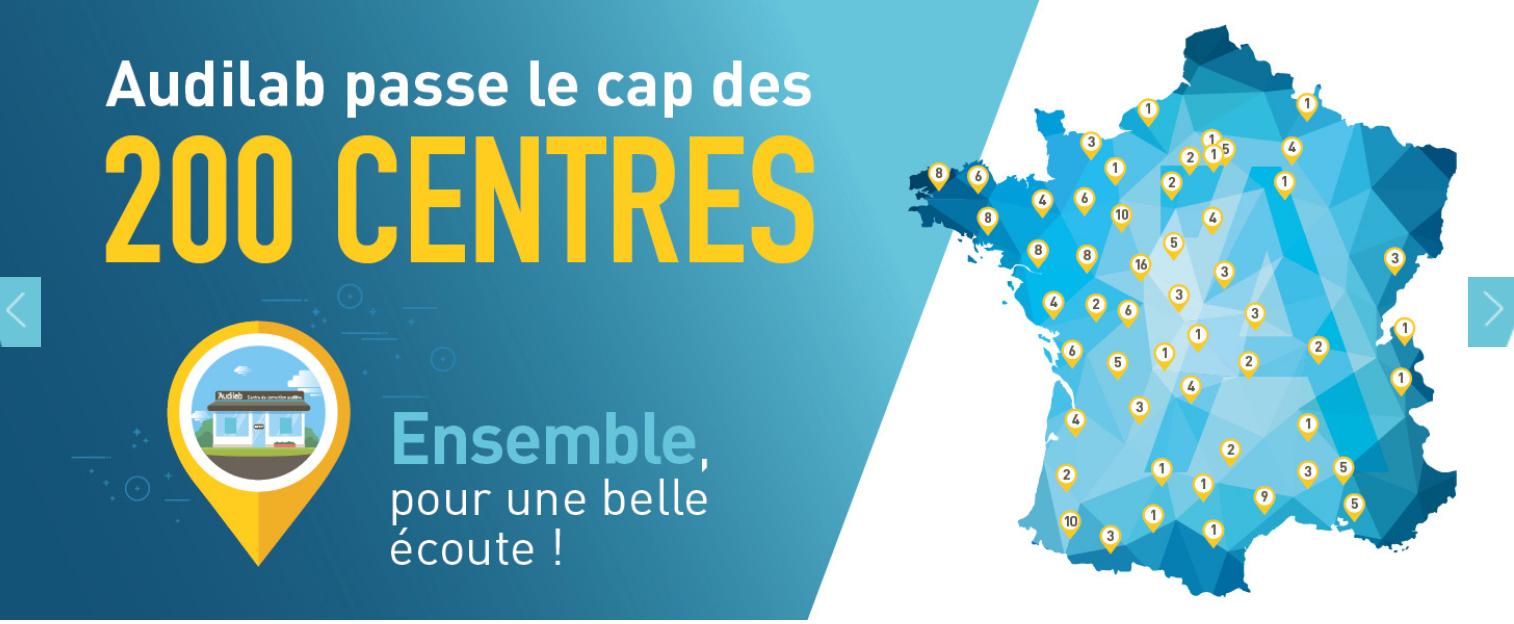 Carte de France - Audilab passe le cap des 200 centres