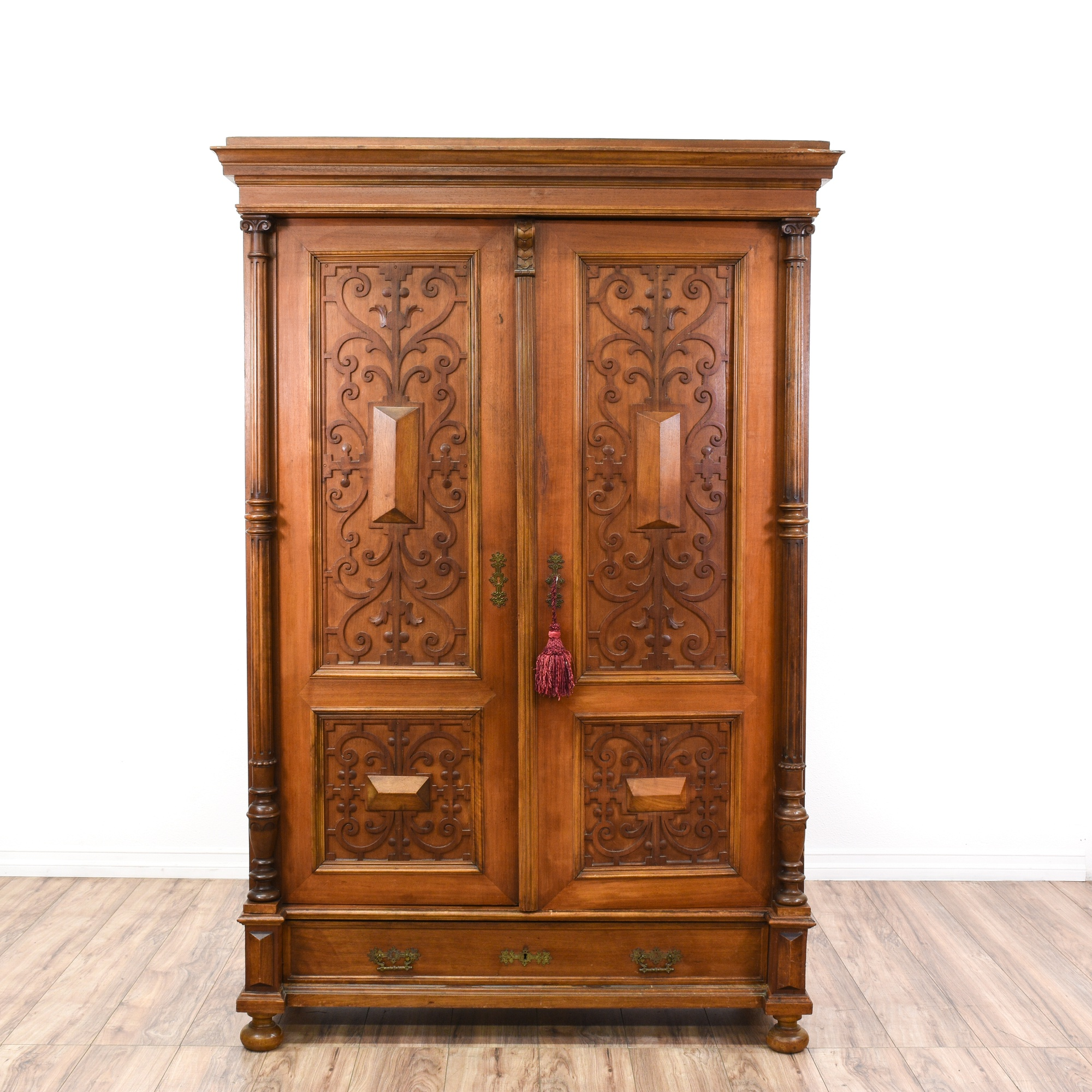 Country Antique Carved Armoire Loveseat Vintage