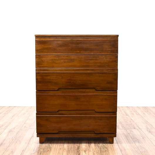Mid Century Modern Tall 5 Drawer Dresser