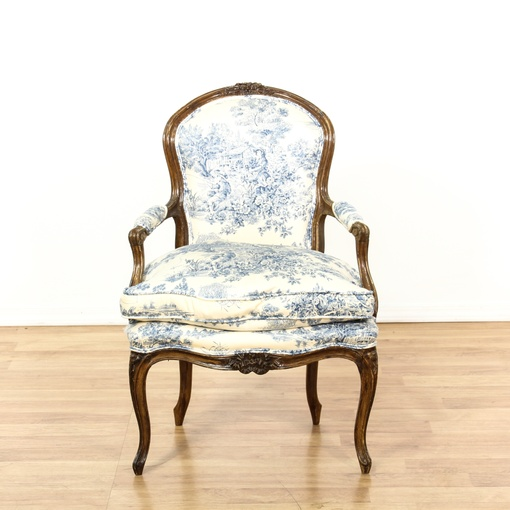 French Blue Amp White Toile Fauteuil Chair Loveseat