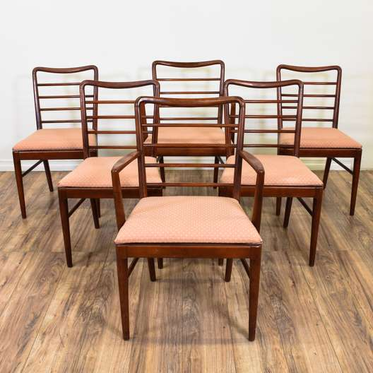 Set of 6 Cherry Mid Century Modern Dining Chairs