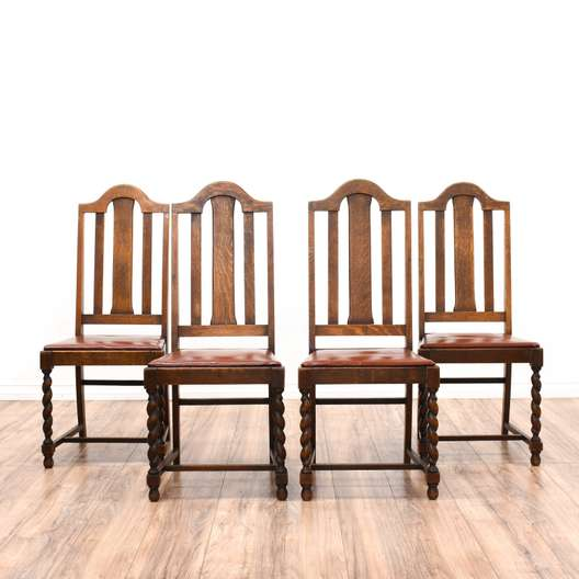 Set of 4 Quarter Sawn Oak Barley Twist Chairs