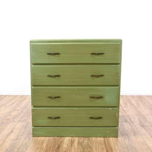 Shabby Sage Green Distressed 4 Drawer Dresser