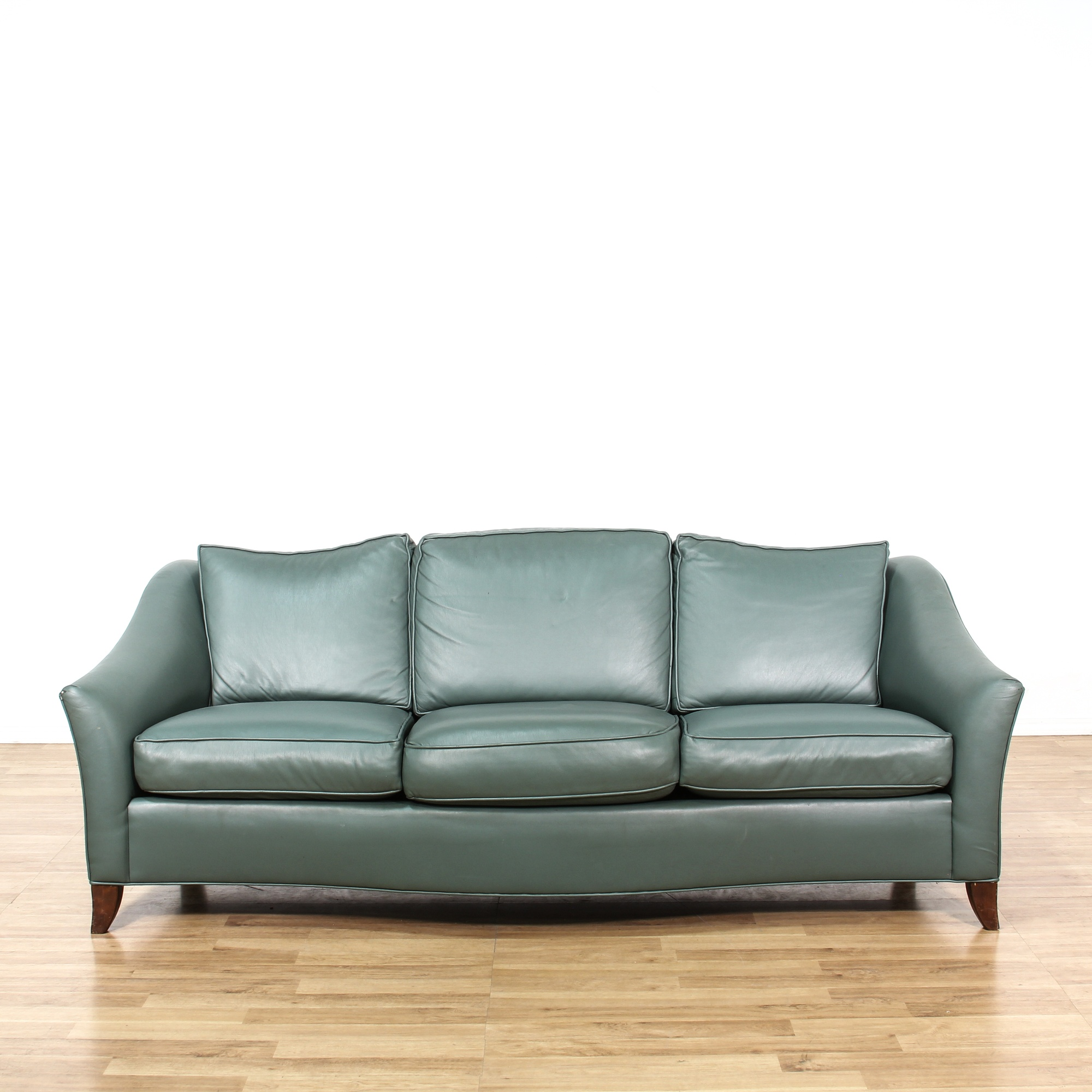 Contemporary Soft Green Leather Sofa Loveseat Vintage Furniture San Diego Los Angeles