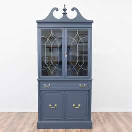 Blue Colonial China Cabinet w/Gold Hardware