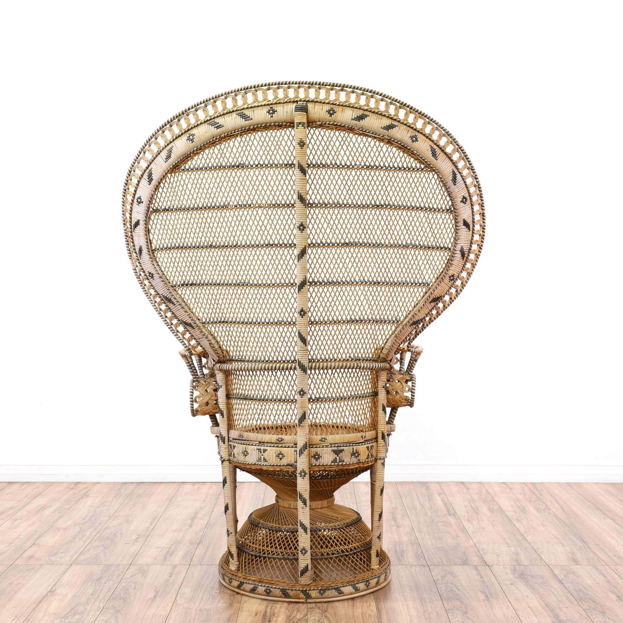 Bohemian Chic Vintage 70s Rattan Peacock Chair Loveseat