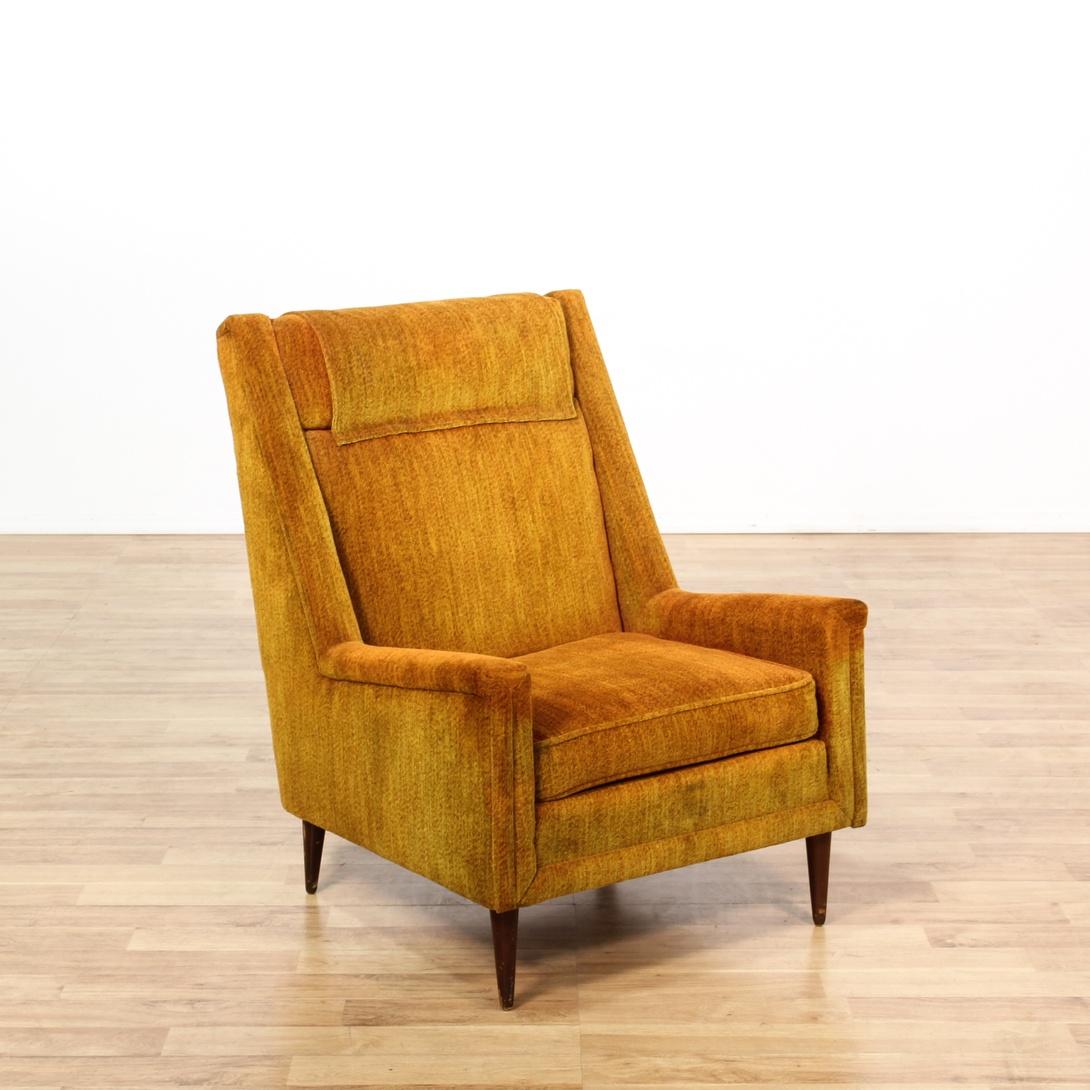 Burnt Orange Upholstered Mid Century Club Chair Loveseat Vintage Furniture San Diego Los Angeles