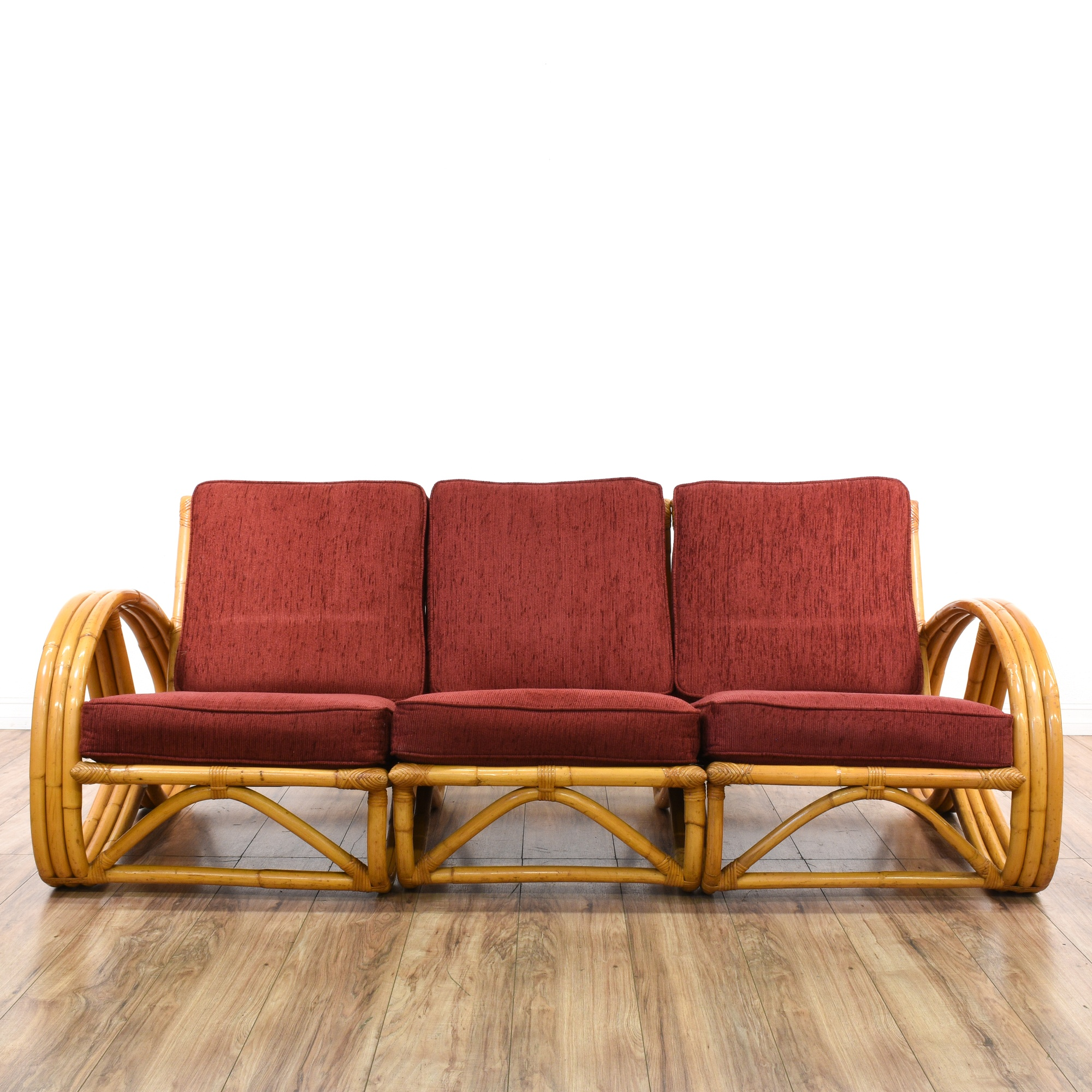 Paul Frankl Sofa ~ Piece paul frankl style rattan sofa loveseat vintage