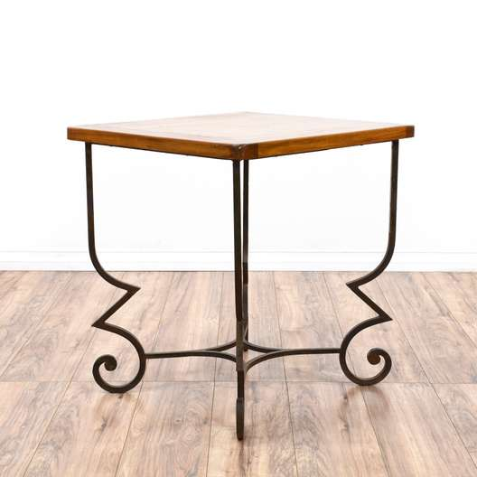 Wood & Curved Iron End Table