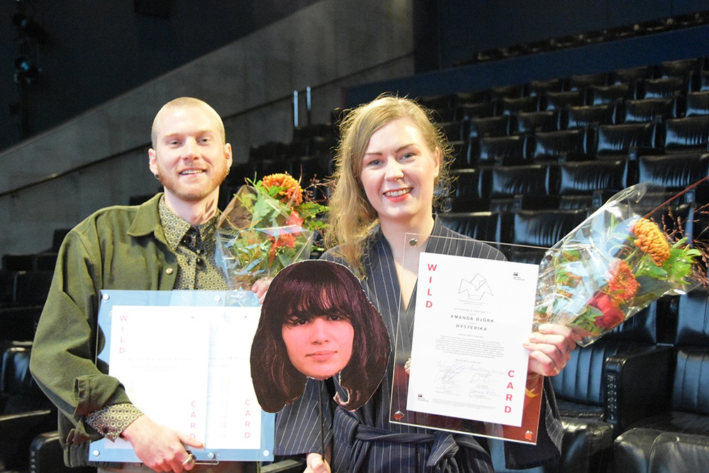 2019 års Wild Card-mottagare Jonathan Nikolaj Heinius, Nathalie Álvarez Mesén (på pinnen) och Amanda Björk i Filmhuset. Foto: Catherine Jarl, Filminstitutet