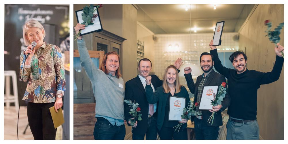 Till vänster moderatorn Malin Winberg och till höger en av 2016 års vinnare i Venture Cup.