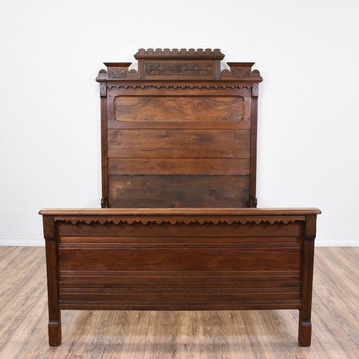 19th century victorian carved walnut eastlake bed for Victorian furniture los angeles