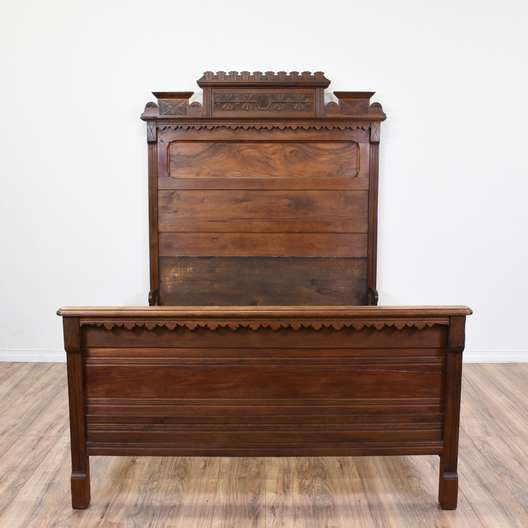19th Century Victorian Carved Walnut Eastlake Bed