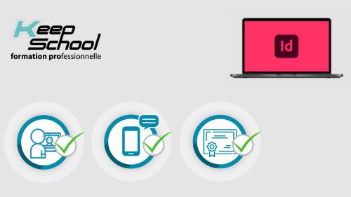 Représentation de la formation : InDesign préparation TOSA : 100% cours particuliers en visio (40h) + e-learning