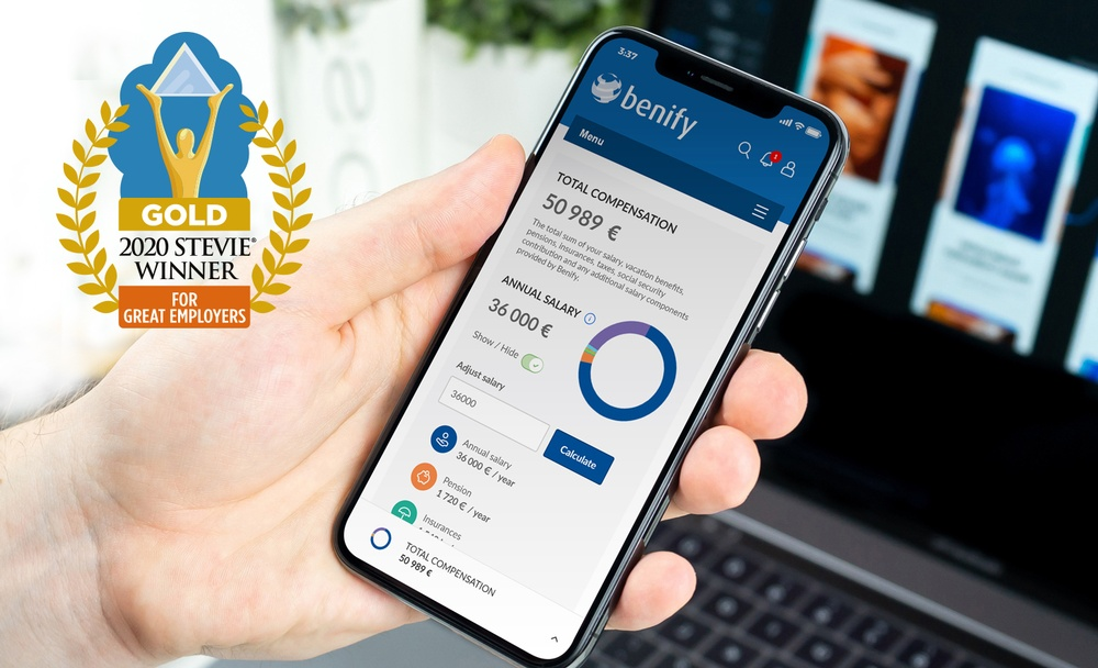 Benify vandt en GOLD Stevie award i kategorien Global HR Solution Provider of the Year