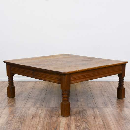 Vintage french provincial marble top coffee table for Rustic cherry coffee table