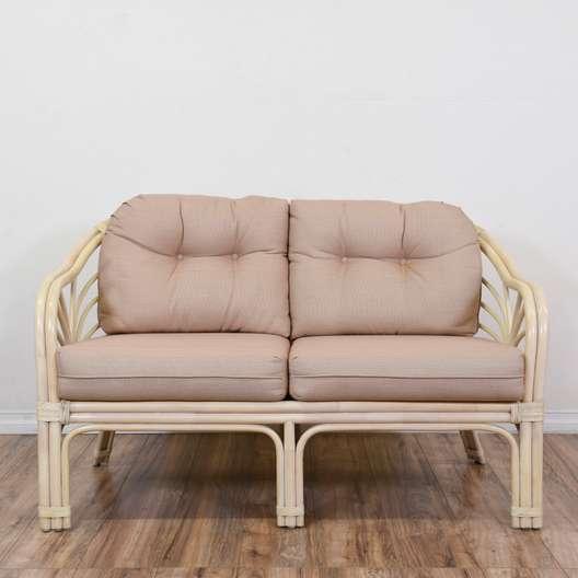 Pink Rattan Loveseat Sofa