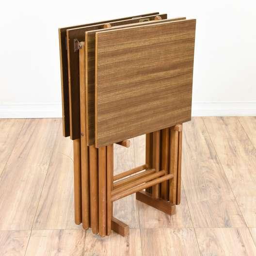 Set of 4 Folding Mid Century Modern TV Trays