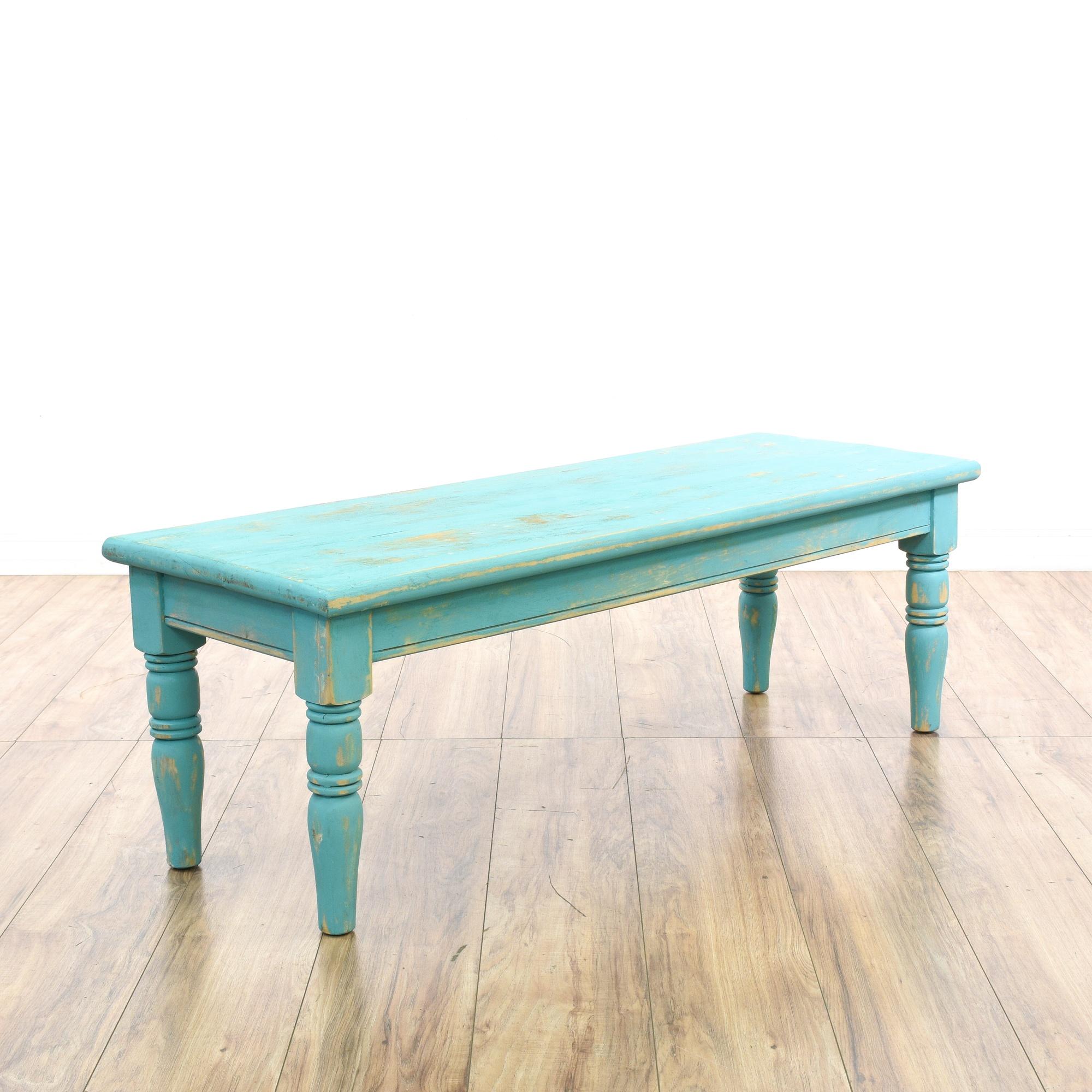 light blue shabby chic turned coffee table loveseat vintage furniture san diego los angeles. Black Bedroom Furniture Sets. Home Design Ideas