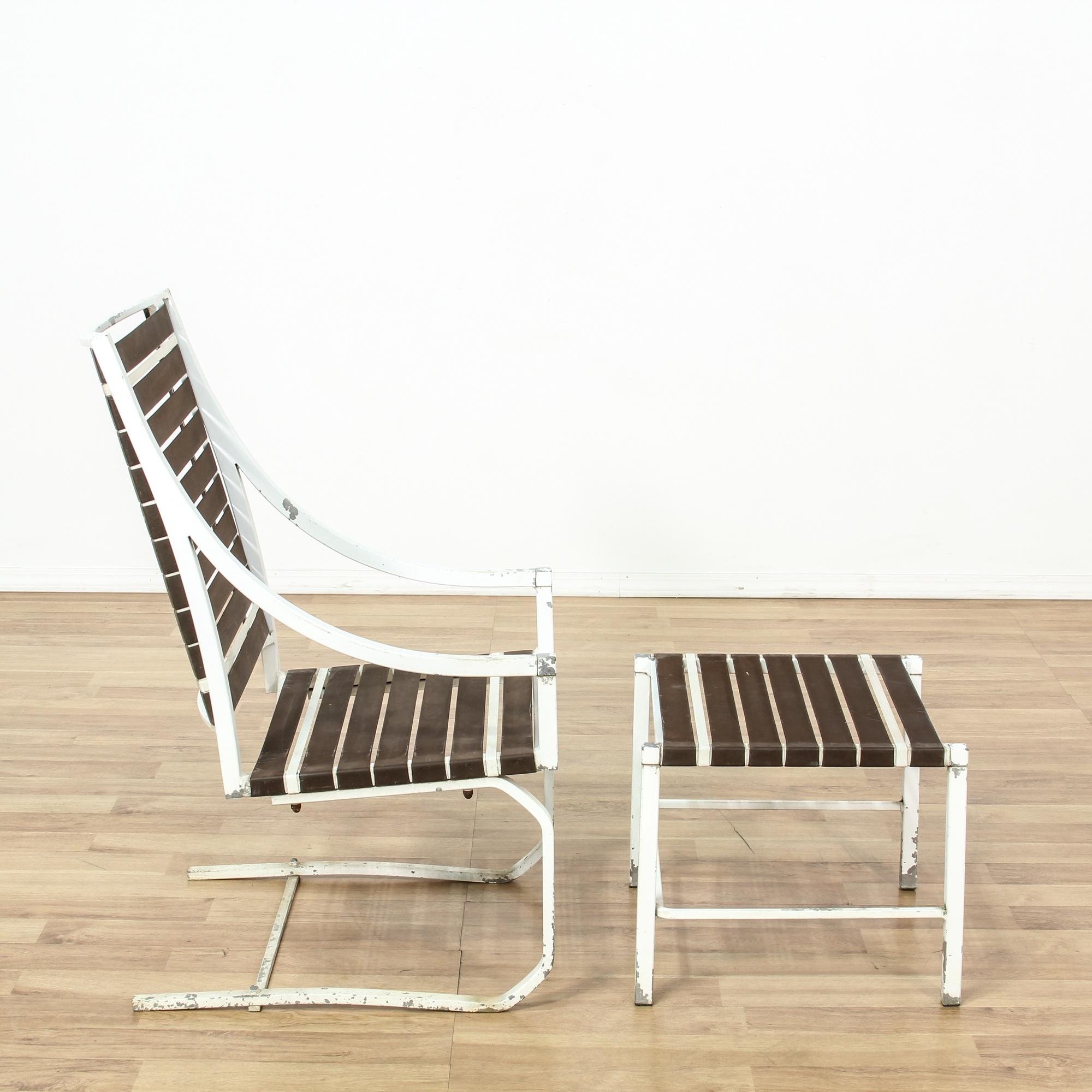 White Iron Outdoor Lounge Chair Amp Ottoman Loveseat