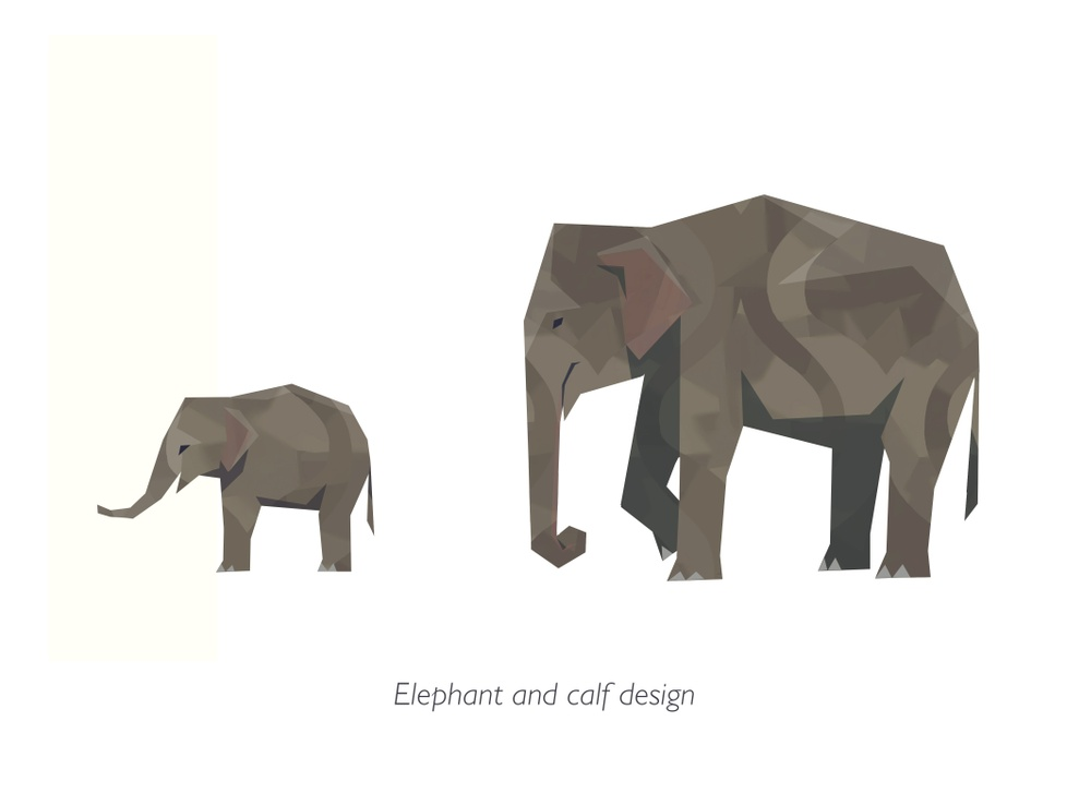 ENG:  'Elephant and Calf Design' for 'Shelter 3' by Emma Richey. © 2019 Might and Delight SV:  'Elephant and Calf Design' för 'Shelter 3' av Emma Richey. © 2019 Might and Delight