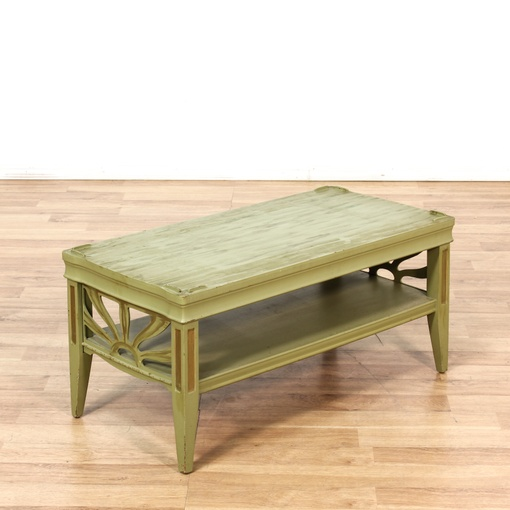 Green 2 Tier Shabby Chic Coffee Table Loveseat Vintage Furniture San Diego Los Angeles