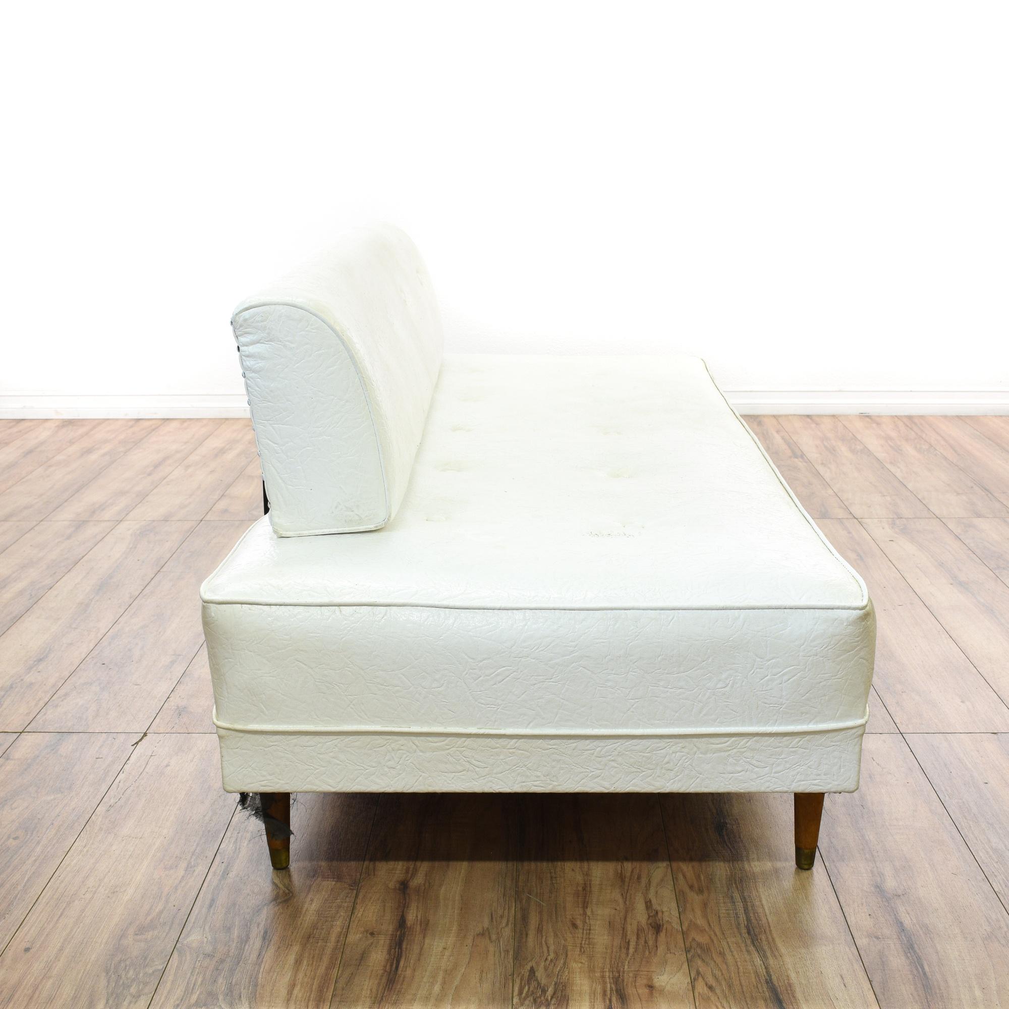 Mid Century Modern White Vinyl Daybed Sofa Loveseat