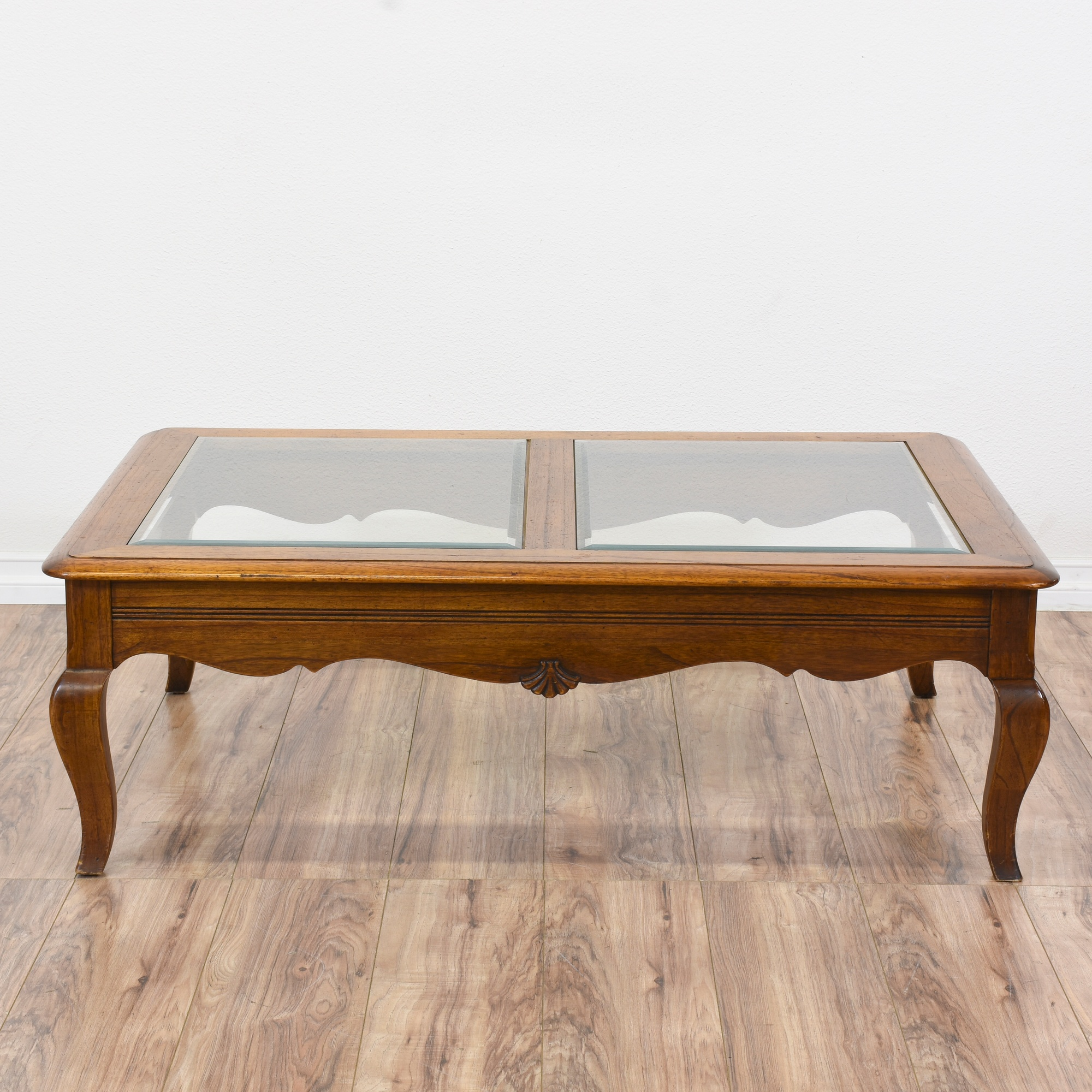 Carved Queen Anne Glass Top Coffee Table
