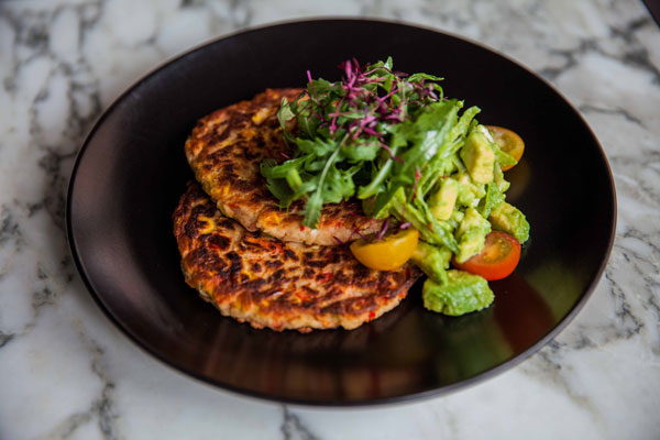 Sweet potato, sweetcorn, red pepper pancakes