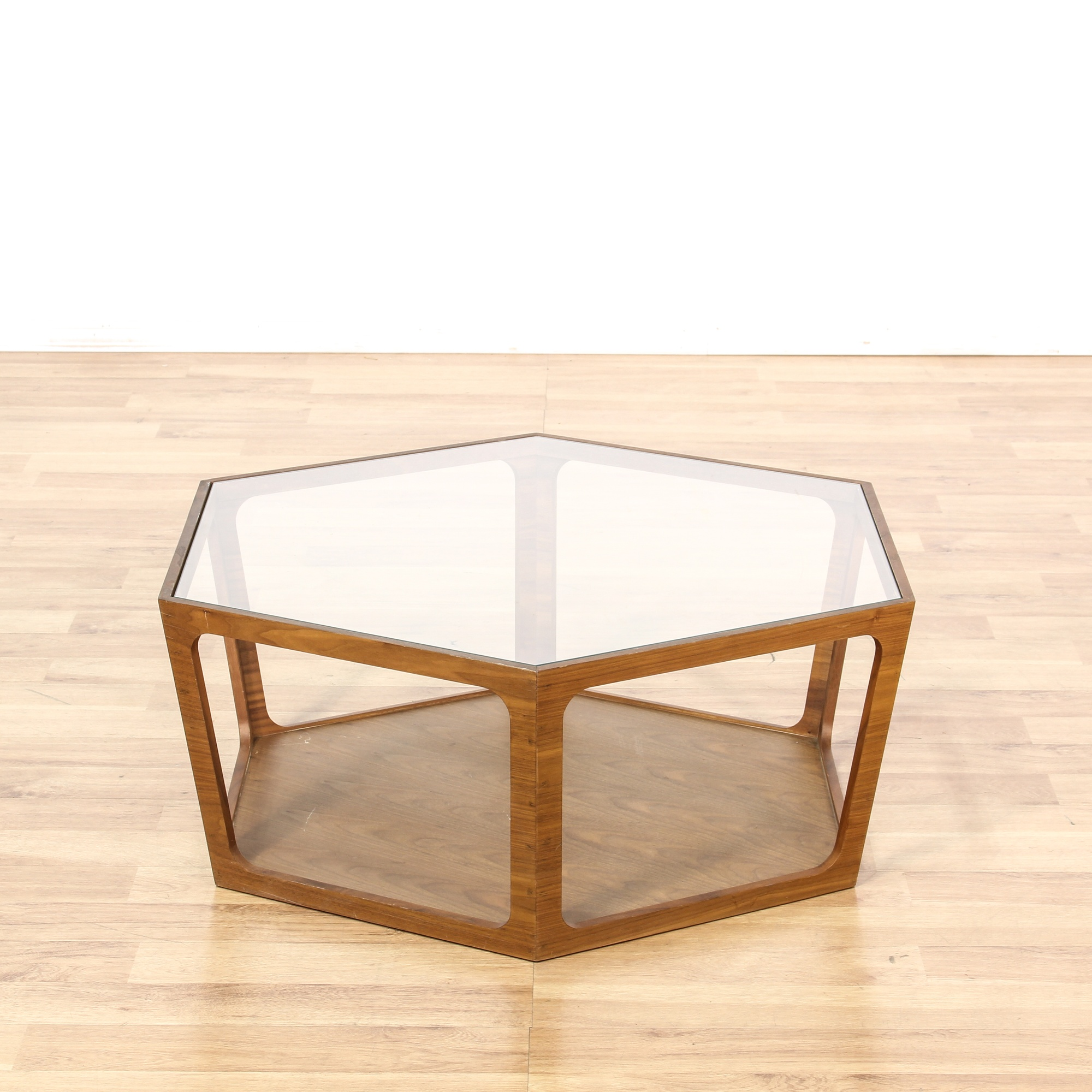 Mid century glass top octagon coffee table loveseat for Octagon glass top coffee table