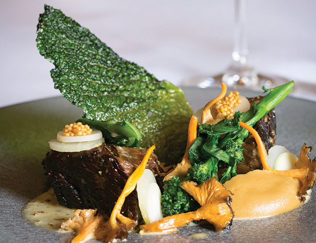Beef, sweetbread, brassicas, trumpet chanterelle at the Clock House, Ripley, Surrey