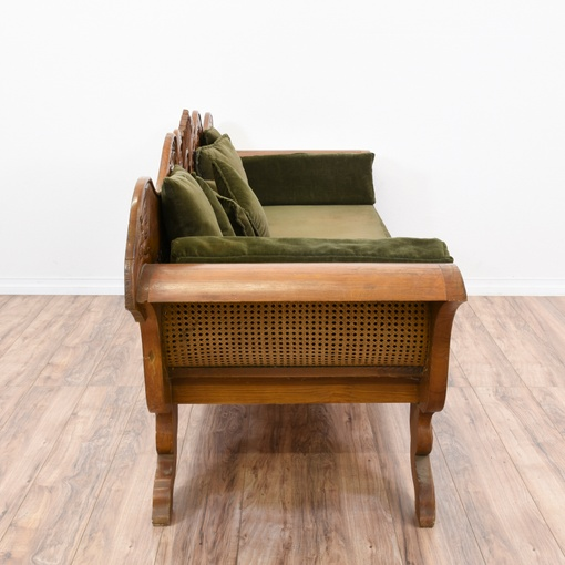 Intricate carved empire sofa w caning loveseat vintage for Furniture 99 invisible