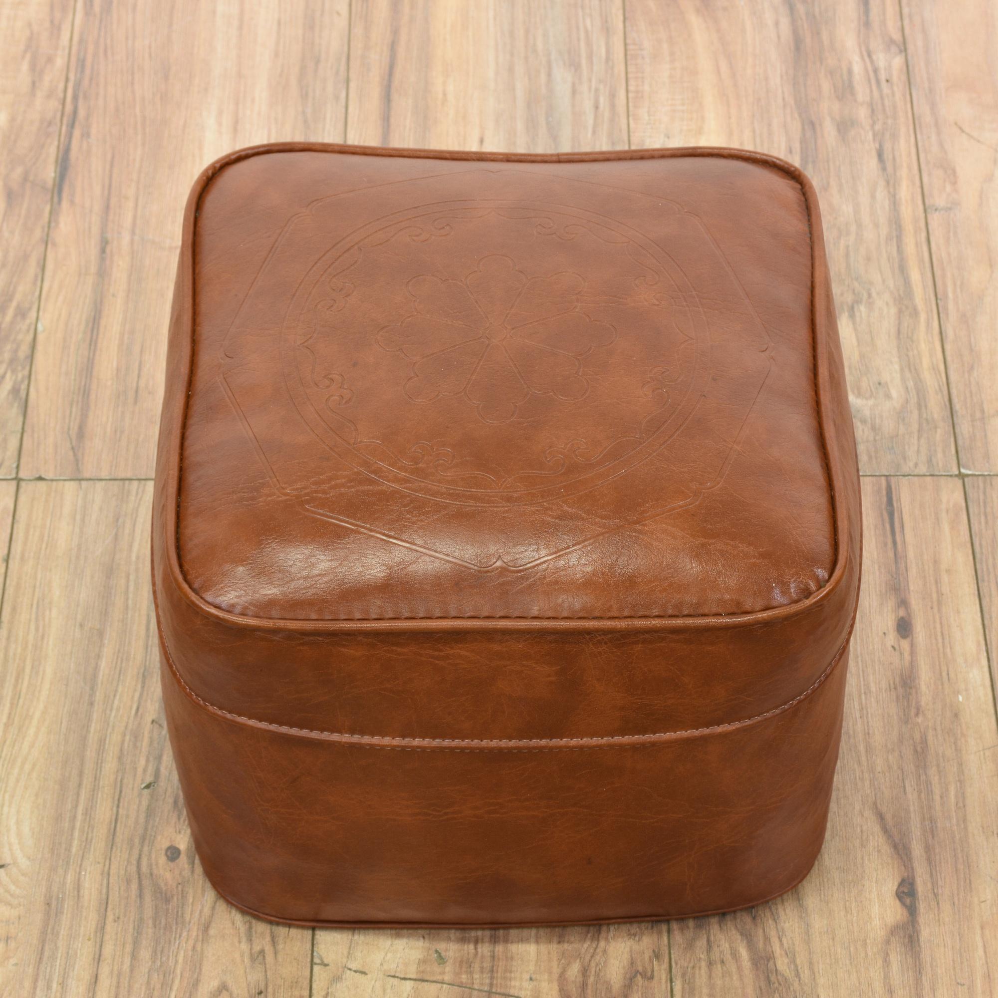 Tan Faux Leather Vinyl Footstool Hassock Ottoman