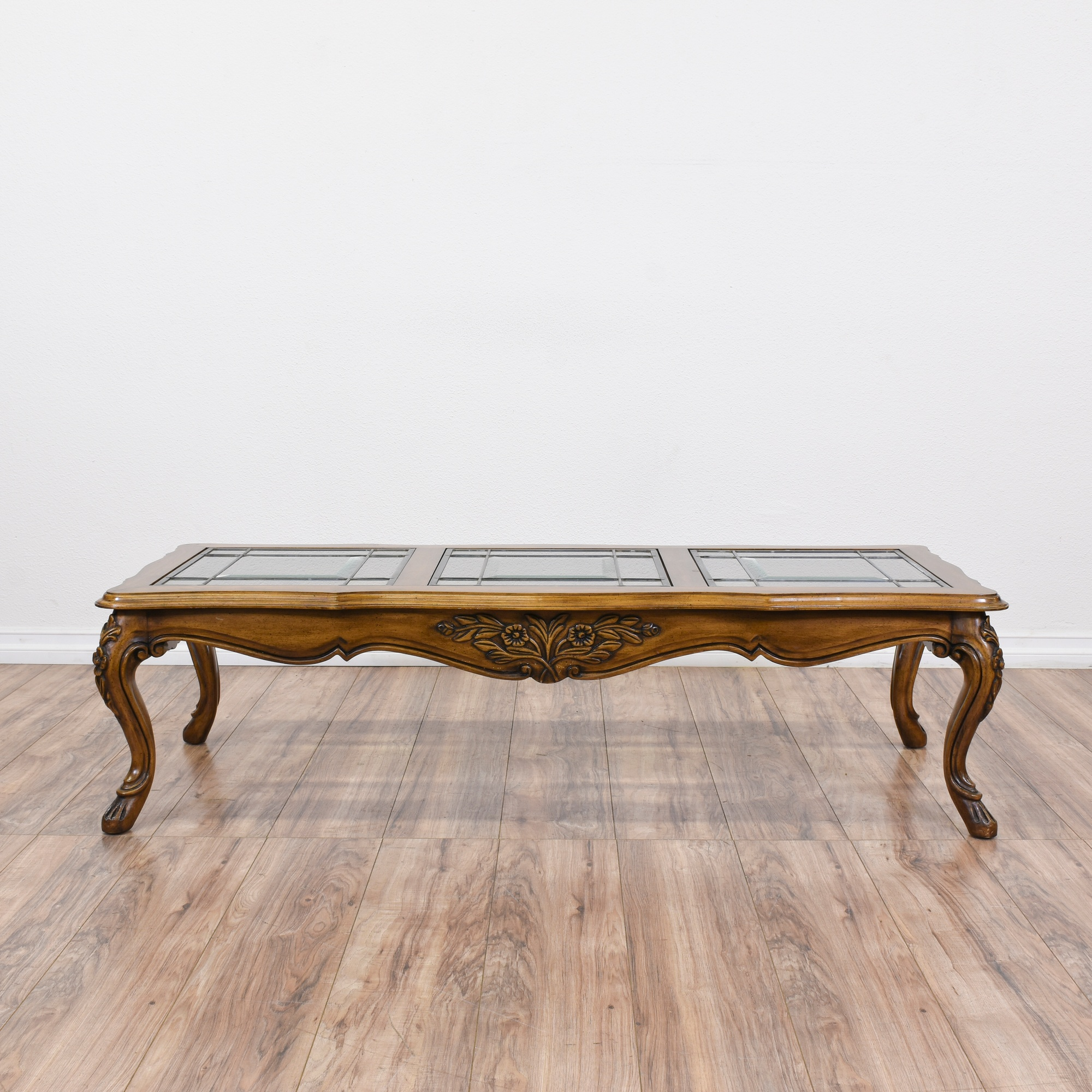 French Provincial Coffee Table Set: Carved French Provincial Glass Top Coffee Table