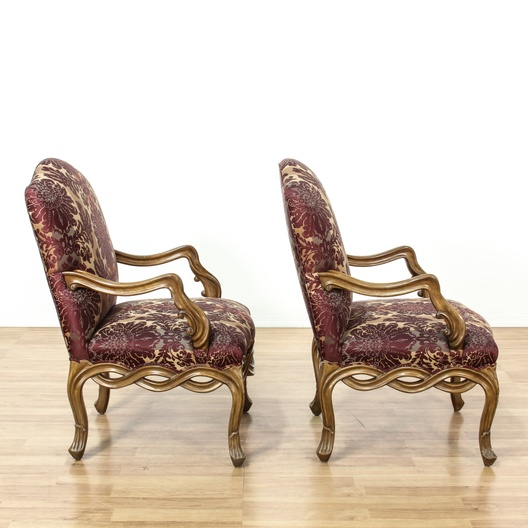 Pair Of Purple Striped Damask Accent Chairs Loveseat