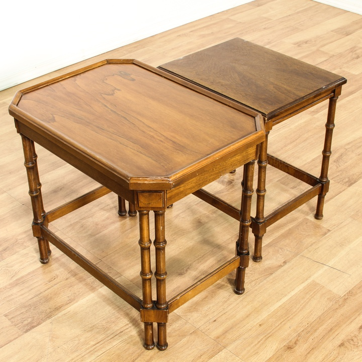 Pair Of Faux Bamboo Nesting Tables Loveseat Vintage