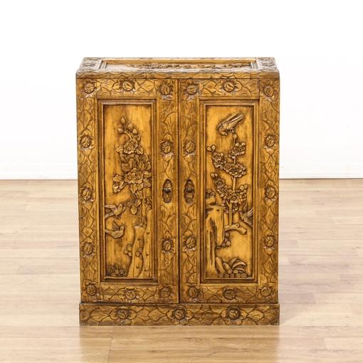 Carved Asian Double Door Cabinet 2 Loveseat Vintage Furniture San Diego Los Angeles