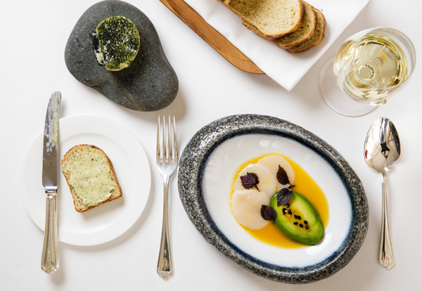 Jersey scallop carpaccio, avocado, passion fruit, shiso