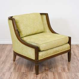 Wood Trim Armless Accent Chair in Green Floral